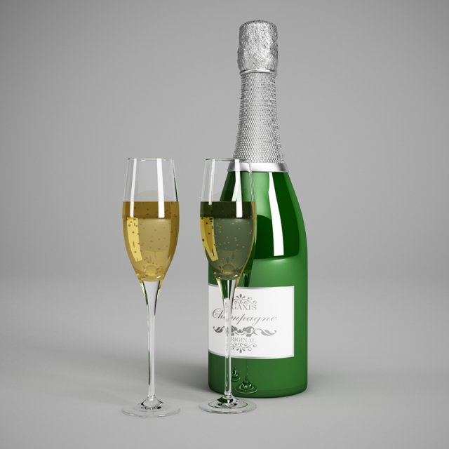 CGAxis Champagne Bottle  Glasses 22 3D Model