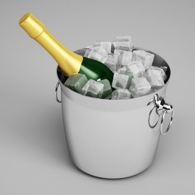 CGAxis Champagne Bottle in Ice Bucket 23 3D Model