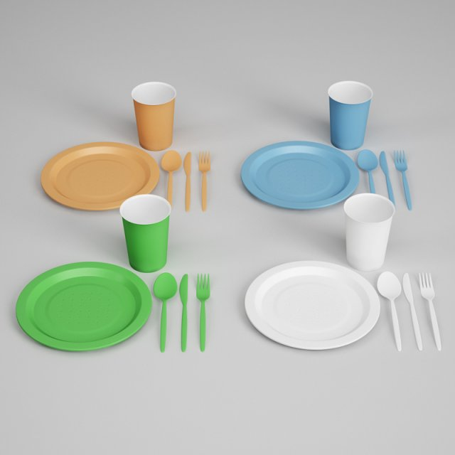 CGAxis Plastic Dishes  Utensils 25 3D Model
