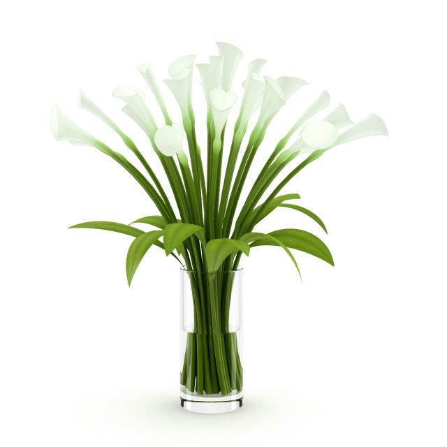 Lilies in Vase 3D Model