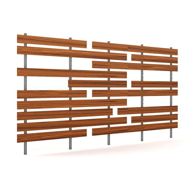Wooden Fence 04 3D Model