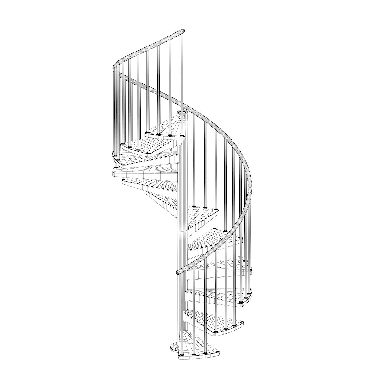 Black Narrow Spiral Stairs 3D Model