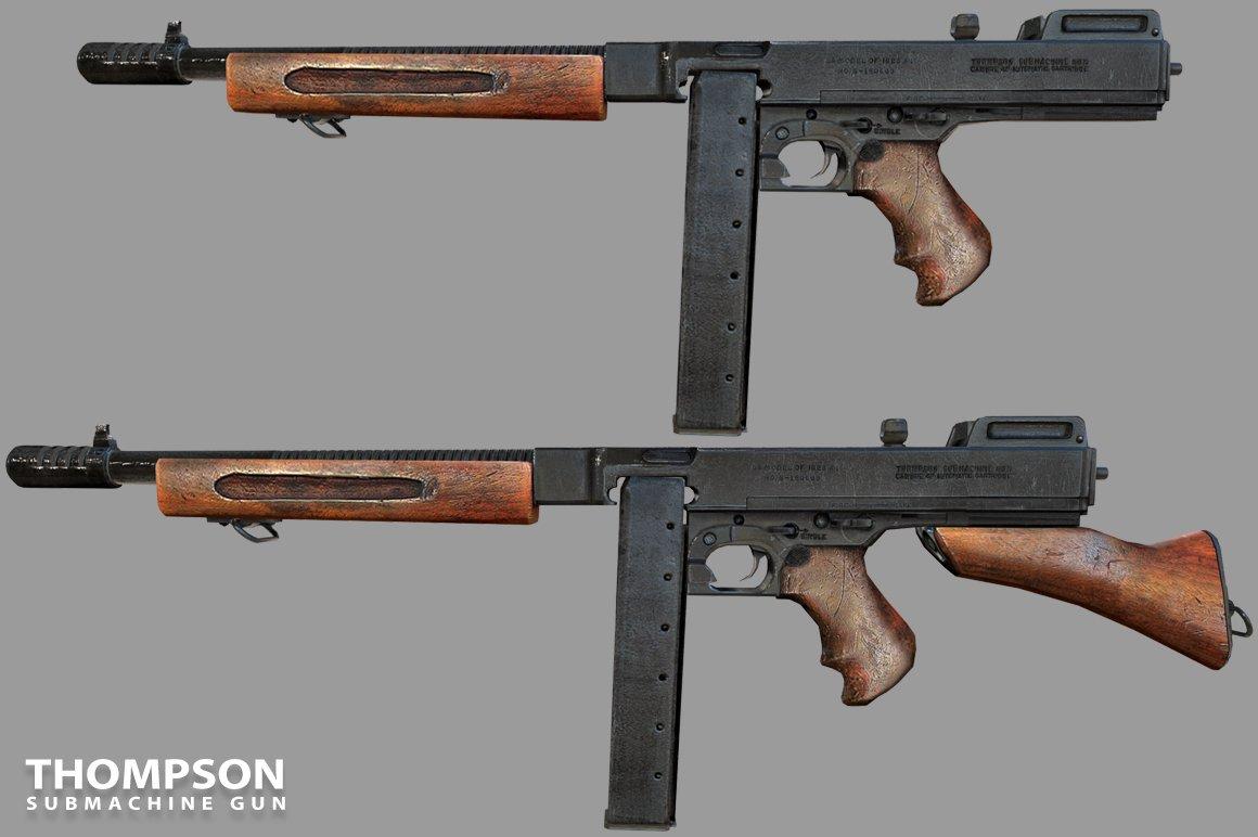 1546ef76b5d4 Thompson Gun 3D Model in Submachine Guns 3DExport