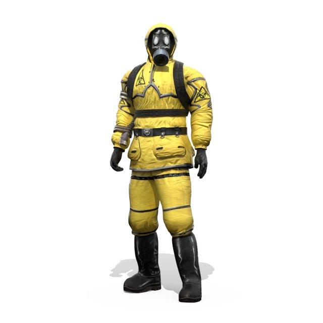Man In Protective Hazmat Suit 3D Model