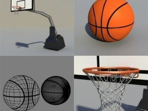 Basket hoop with basketball