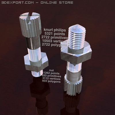 Knurled philips head bolt 3D Model