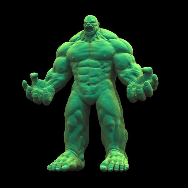 Green Hulk Fantasy Character 3D Model in Monster 3DExport
