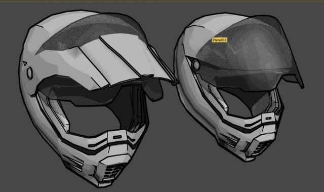 Touring helm mid poly 3D Model