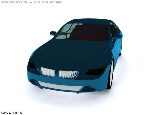 BMW 6 Series blue 3D Model