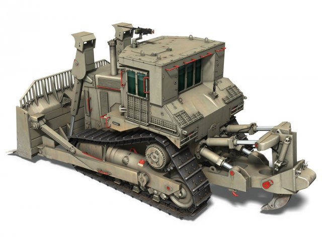 IDF Armored CAT D9R Bulldozer 3D Model