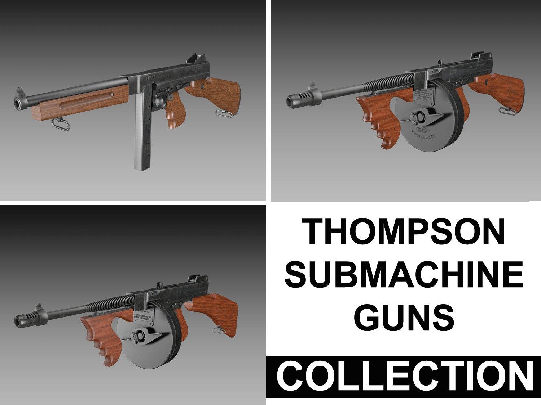908770bc785d Thompson Submachine Gun Collection 3D Model in Submachine Guns 3DExport