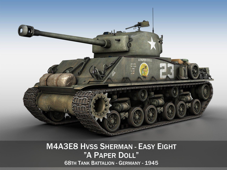M4A3E8 Sherman Easy Eight A Paper Doll 3D Model in Tank 3DExport