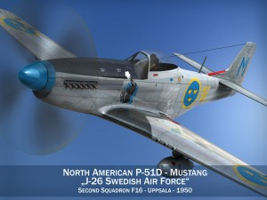 North American P51D Mustang Swedisch Airforce