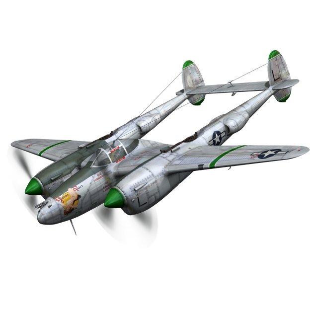 Lockheed P38 Lightning  Glamour Puss II 3D Model