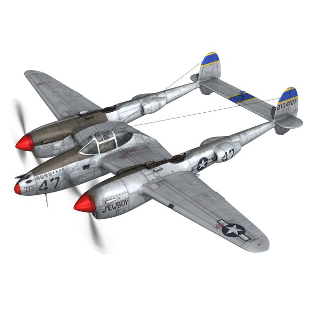 Lockheed P38 Lightning  Jewboy 3D Model