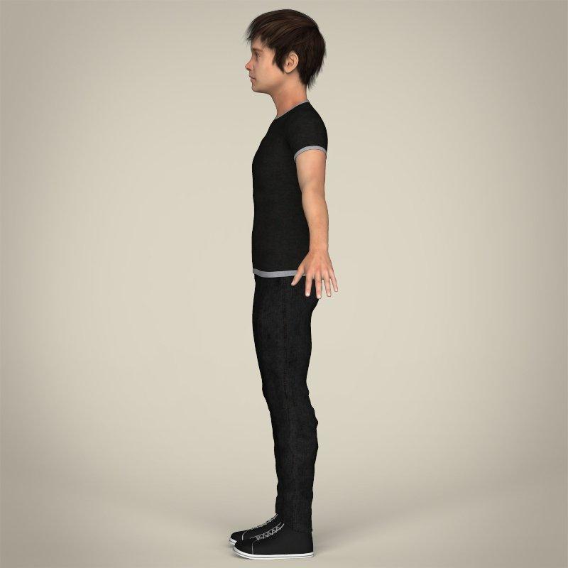 Realistic Teen Boy 3D Model MAX OBJ 3DS FBX C4D LWO LW LWS