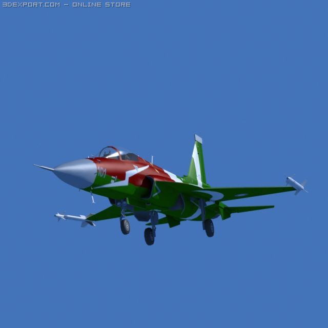 JF17 Thunder Display Aircraft Low poly 3D Model in Commercial 3DExport