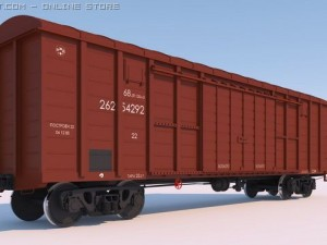 High poly 3D Model of RailWay covered coach