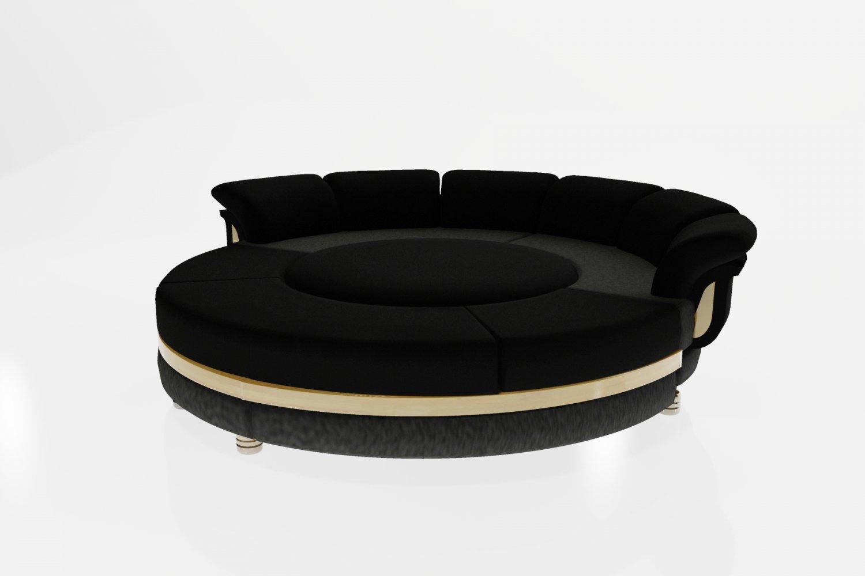 Round Shaped Sofa In Black Model
