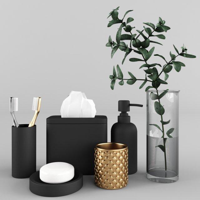 Bathroom Accessories Set Model In Bathroom