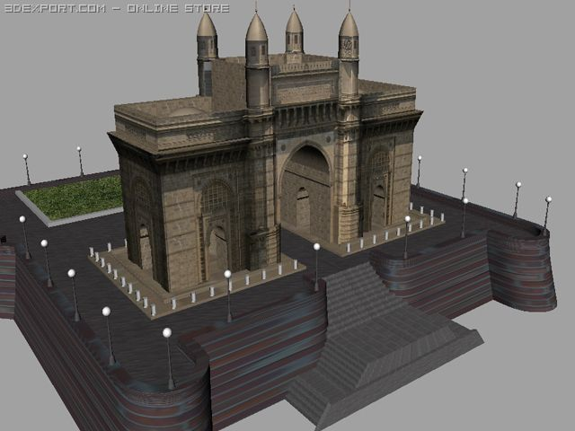Gateway of India 3D Model in Architectural Exteriors 3DExport