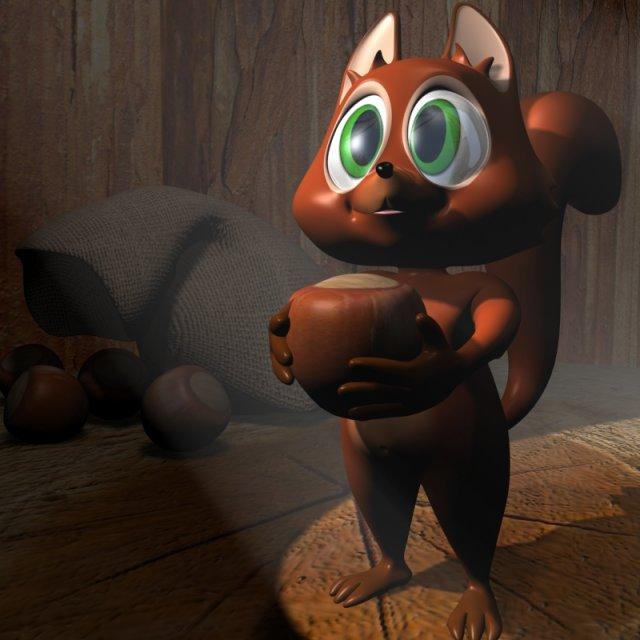 Cartoon Squirrel Character RIGGED 3D Model