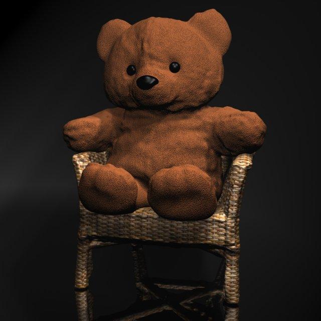 Teddy Bear on chair 3D Model