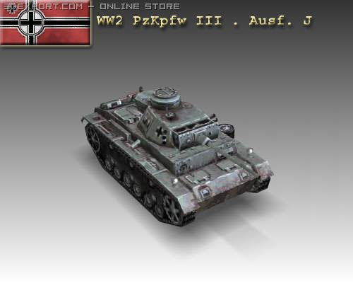 WW2 PzKpfw III  Ausf J 3D Model
