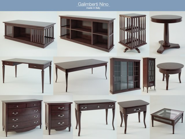 Galimberti Nino furniture set 3D Model