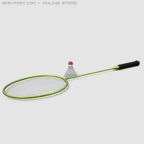Badminton Rackect with Shuttlecock 3D Model