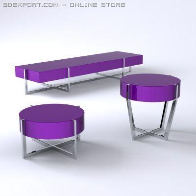 Set of 3 Spider Tables 3D Model