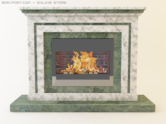 Classic marble fireplace 3D Model