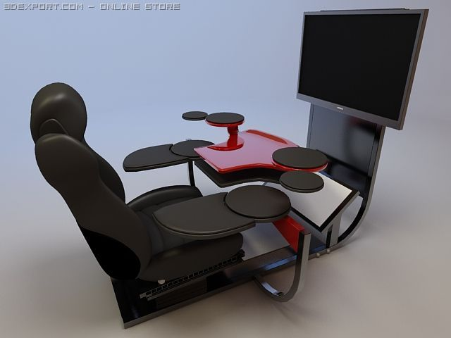Modern computer desk with widescreen monitor 3D Model