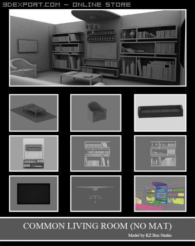 ID50020 Common Living Room  no mat  3D Model