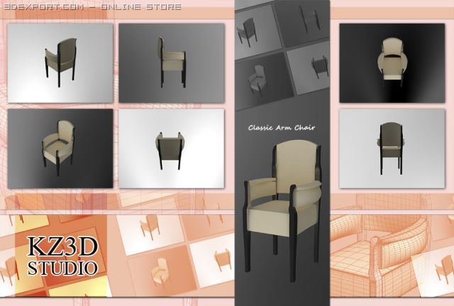 ID50034 Classic Arm Chair 3D Model