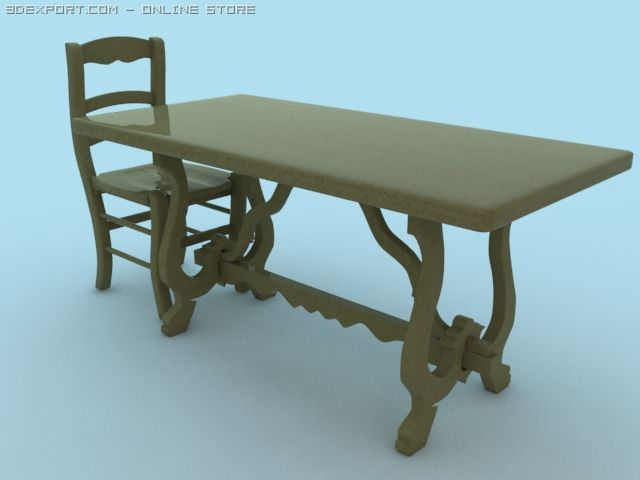 Chair and Table 3D Model