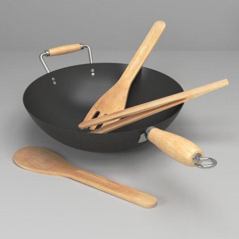 Wok and utensils 3D Model