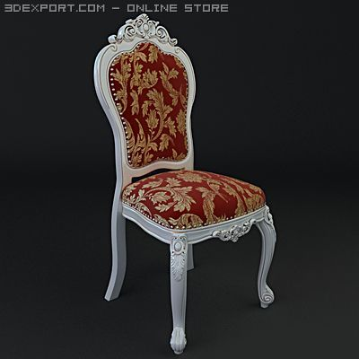 Chair ornate antique armless 3D Model