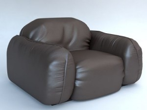 Leather armchair Piumotto by Busnelli Italy