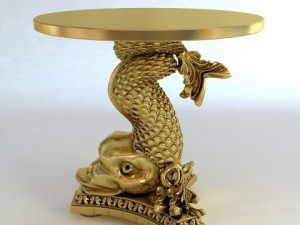 Accent Table Gold Fish Base