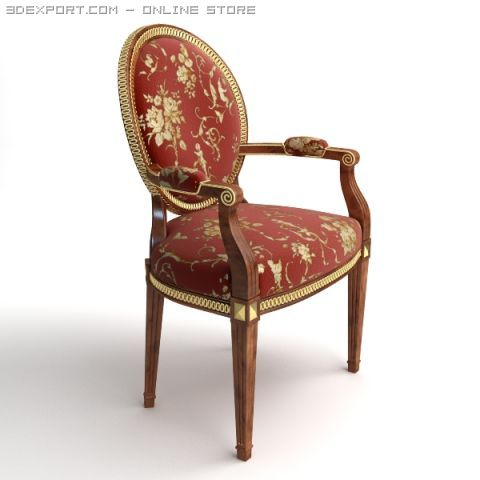 Armchair stitched with gold 3D Model