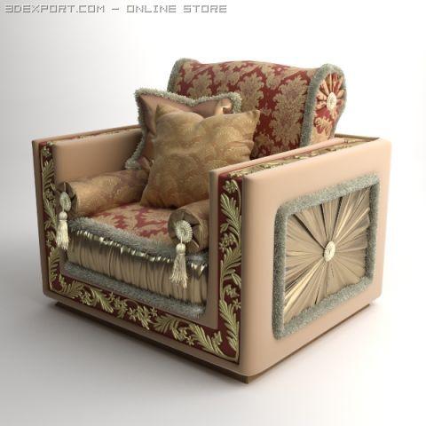 Ornate Armchair Bacci Stile 450 3D Model