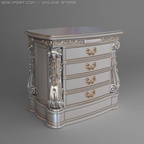 super popular 2f5aa f99ac Baroque Nightstand Curbstone 3D Model in Bedroom 3DExport