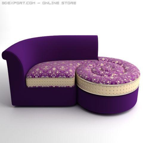 Italian Designer Divan Chaise 3D Model