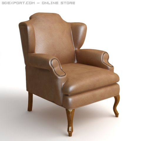 Leather Wing Chair 2 3D Model