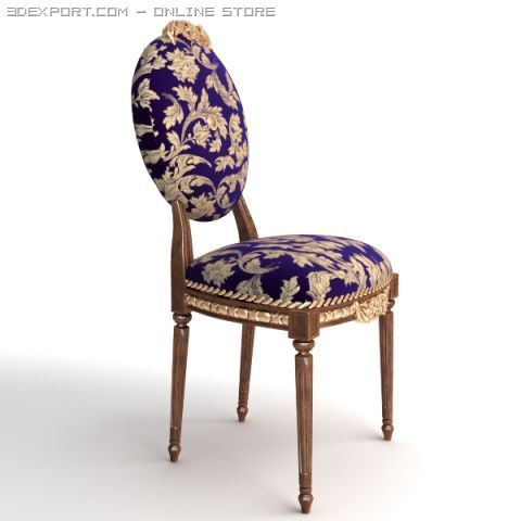 Antique Chair Brocade Armless 2 3D Model