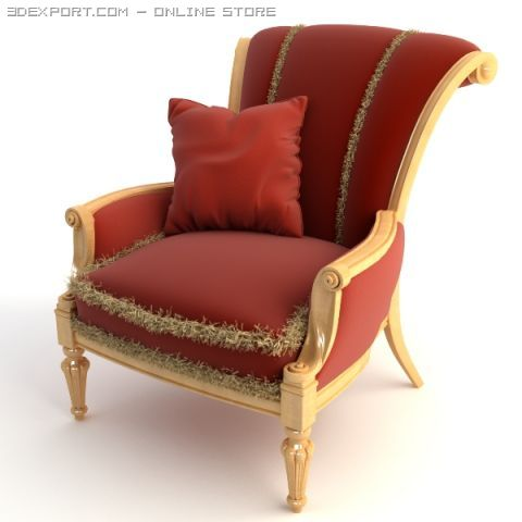 Red Armchair with Pillow 3D Model