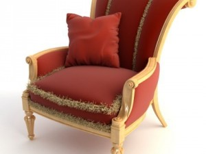 Red Armchair with Pillow