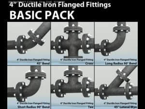 Pipes Pack 4 Ductile Iron Flanged Fittings Basic
