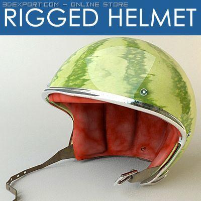 Rigged moto helmet Nc2 3D Model